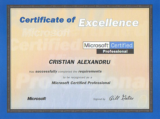 Microsoft Diploma  Microsoft Certificate Of Excellence